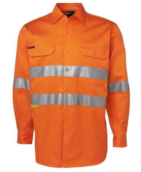 JB's 6HDNL Hi Vis (D+N) Long Sleeve 190g Shirt With Tape - Adults (6HDNL)