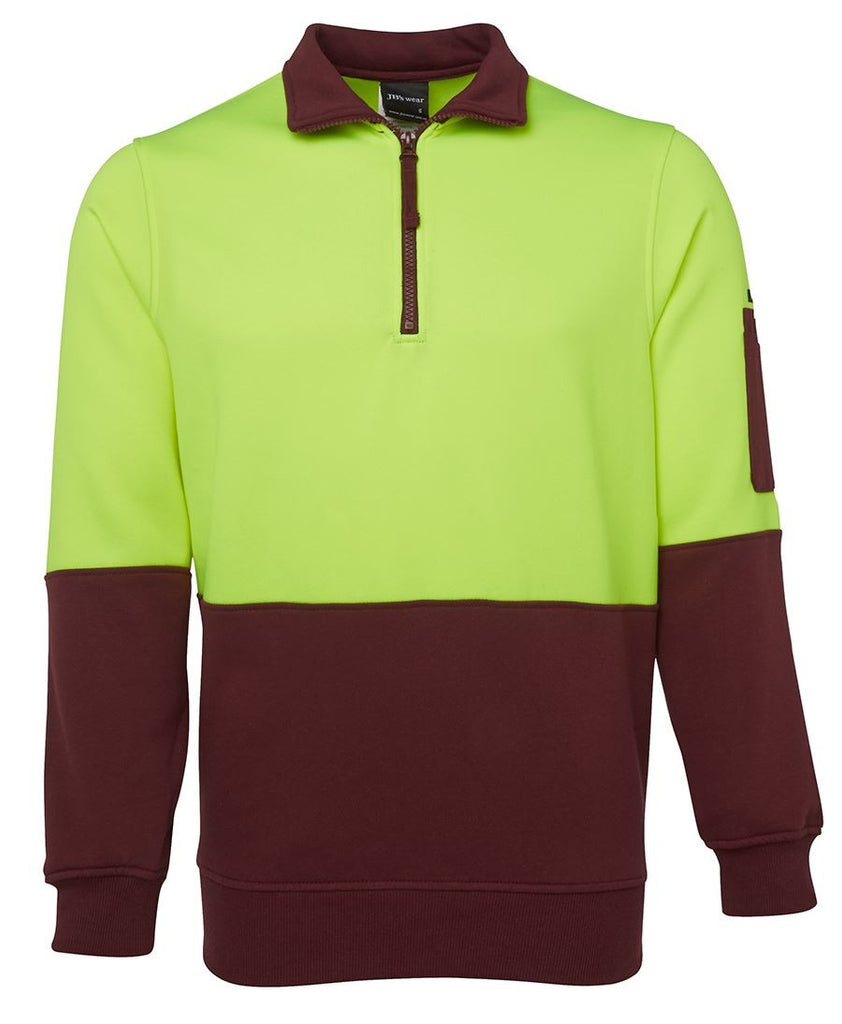 JB's Hi Vis 1/2 Zip Fleecy Sweat - Adults (6HVFH)