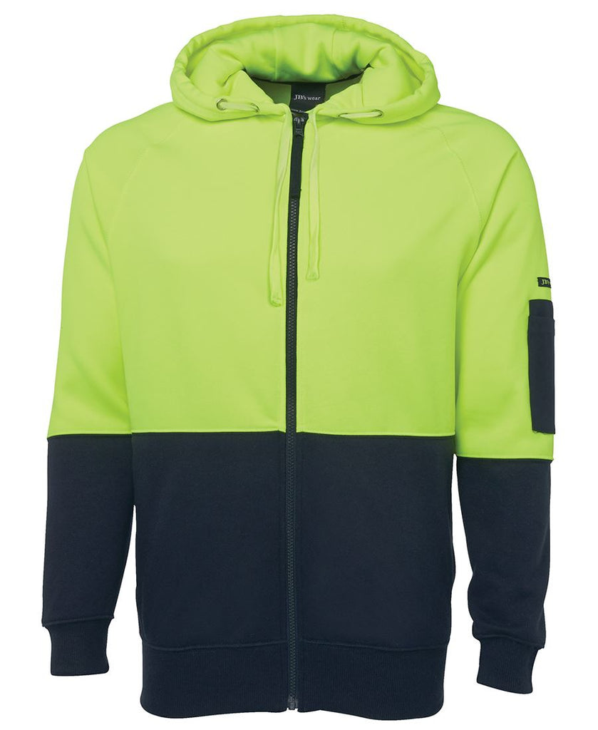 Jb's Hi Vis Hi Vis Full Zip Fleecy Hoodie - Adults (6HVH)