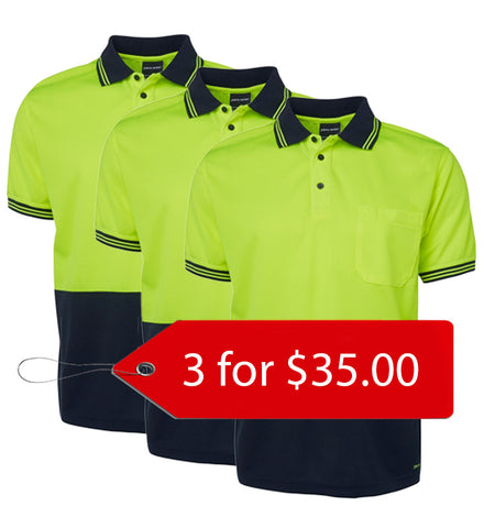 Jb's Hi Vis Short Sleeve Traditional Polo - Adults- 3 Pack (6HVPS-1)