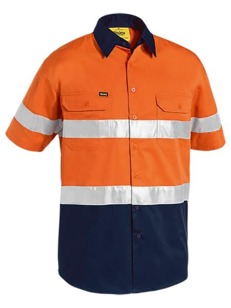 Bisley 3M Taped Two Tone Hi Vis Cool Lightweight Shirt - Short Sleeve-(BS1896)