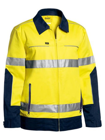 Bisley 3M Taped Two Tone Hi Vis Liquid Repellent Cotton Drill Jacket-(BJ6917T)