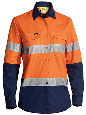 Bisley Womens 3m Taped Hi Vis X Airflow™ Ripstop Shirt-(BL6415T)