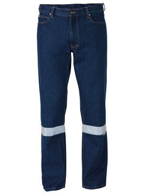 Bisley 3m Taped Industrial Straight Leg Mens Work Denim Jean-(BP6053T)