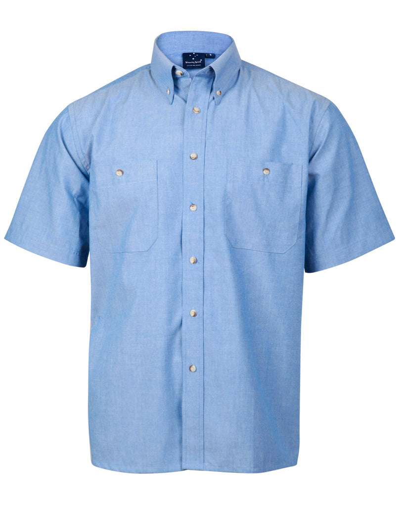 Winning Spirit Men's Wrinkle Free Short Sleeve Chambray Shirts (BS03S)