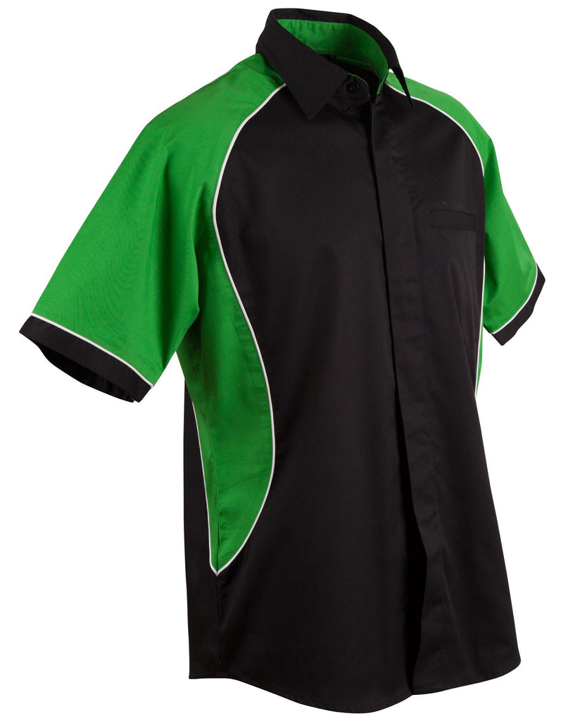 Winning Spirit-Winning Spirit Men's Arena Tri-colour Contrast Shirt-Black/White/Green / S-Uniform Wholesalers - 3