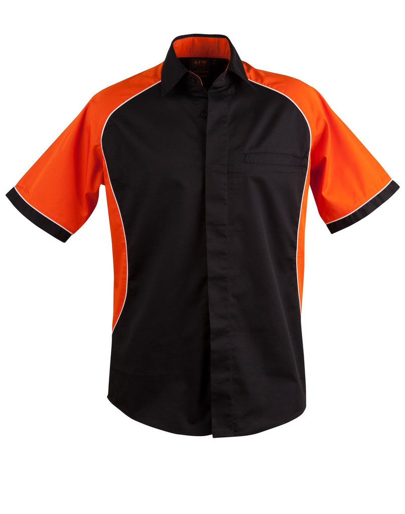 Winning Spirit-Winning Spirit Men's Arena Tri-colour Contrast Shirt-Black/White/Orange / S-Uniform Wholesalers - 5