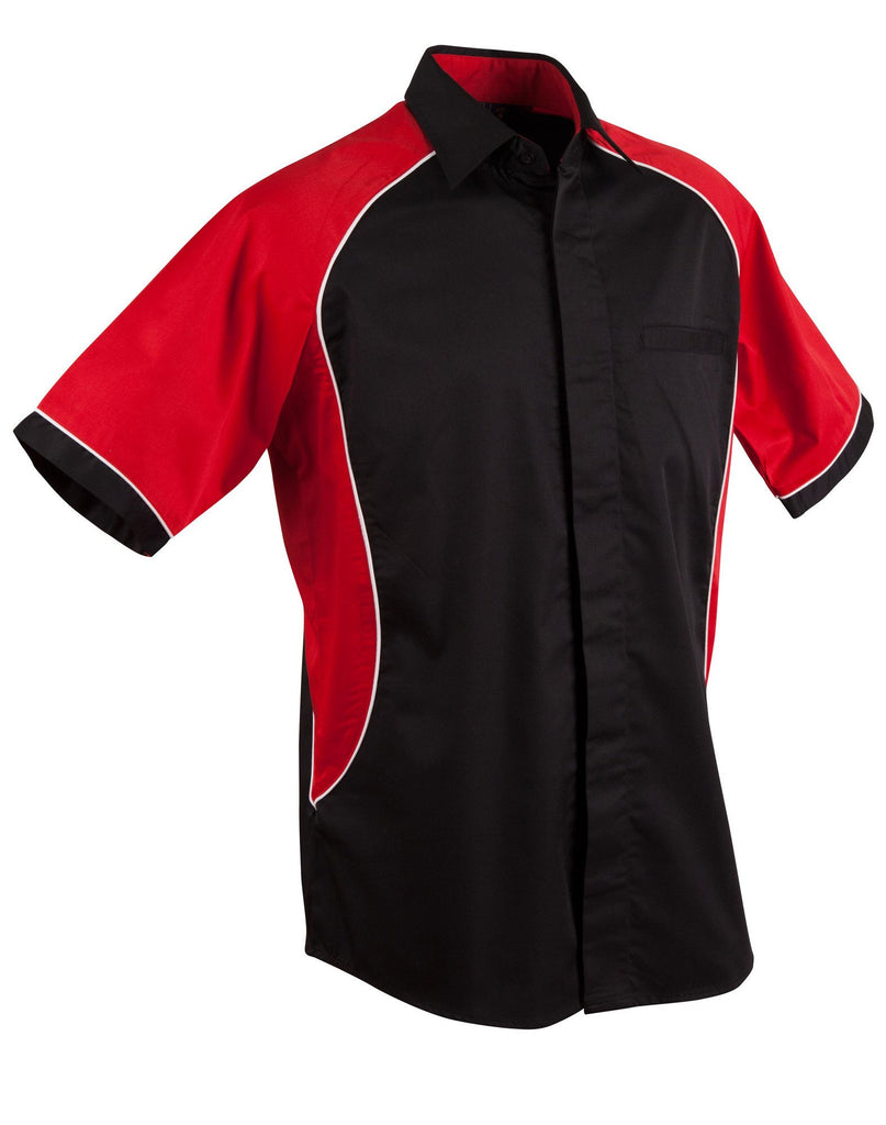 Winning Spirit-Winning Spirit Men's Arena Tri-colour Contrast Shirt-Black/White/Red / S-Uniform Wholesalers - 6
