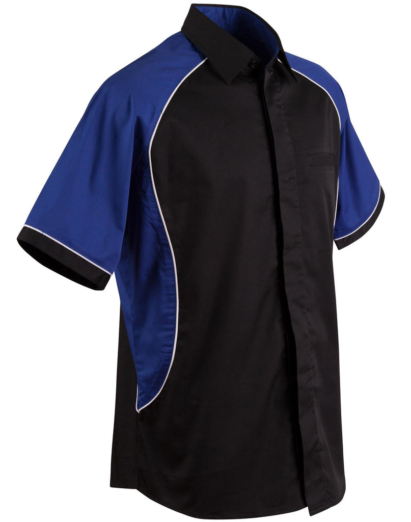 Winning Spirit-Winning Spirit Men's Arena Tri-colour Contrast Shirt-Black/White/Royal / S-Uniform Wholesalers - 7