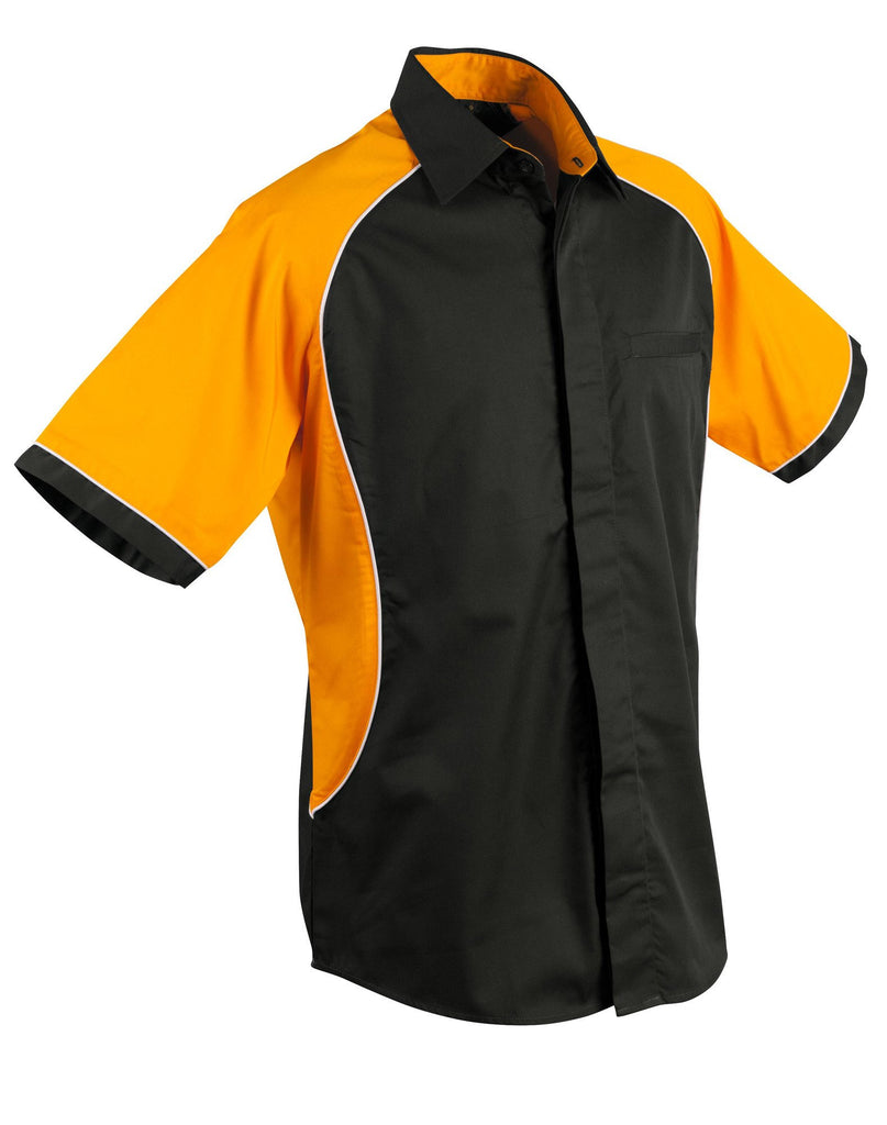 Winning Spirit-Winning Spirit Men's Arena Tri-colour Contrast Shirt-Black/White/Gold / S-Uniform Wholesalers - 2
