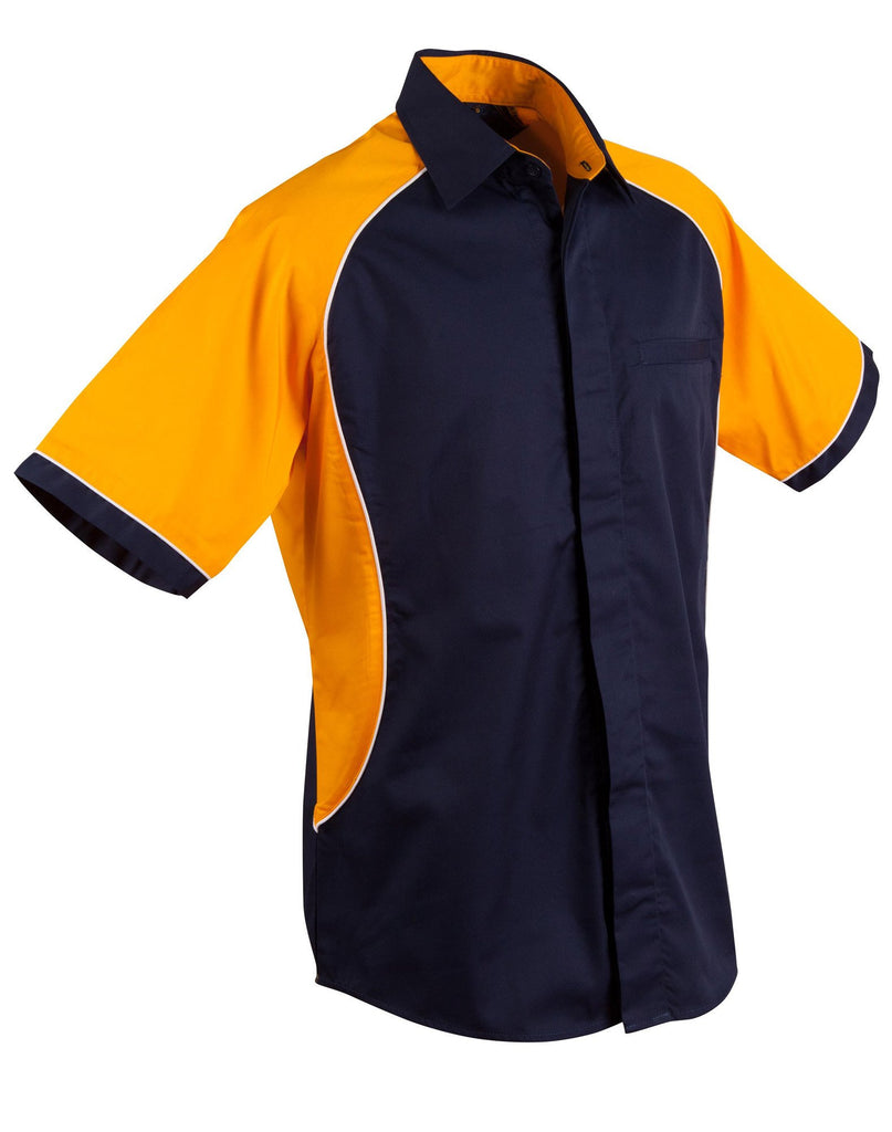 Winning Spirit-Winning Spirit Men's Arena Tri-colour Contrast Shirt-Navy/White/Gold / S-Uniform Wholesalers - 8