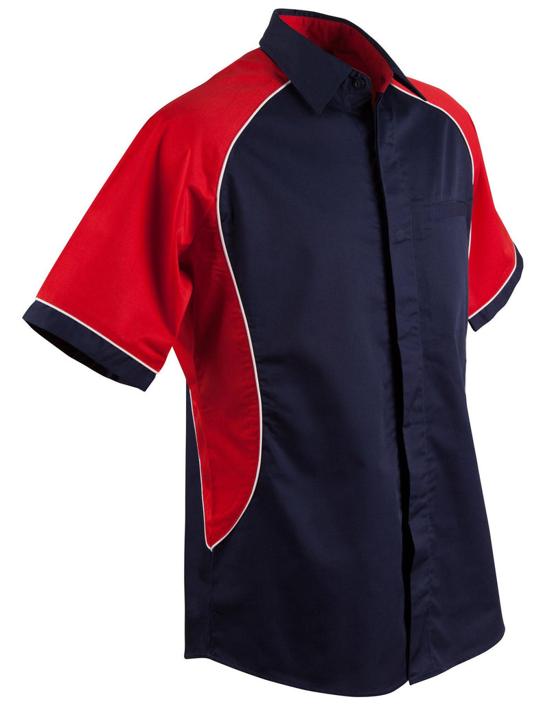 Winning Spirit-Winning Spirit Men's Arena Tri-colour Contrast Shirt-Navy/White/Red / S-Uniform Wholesalers - 9