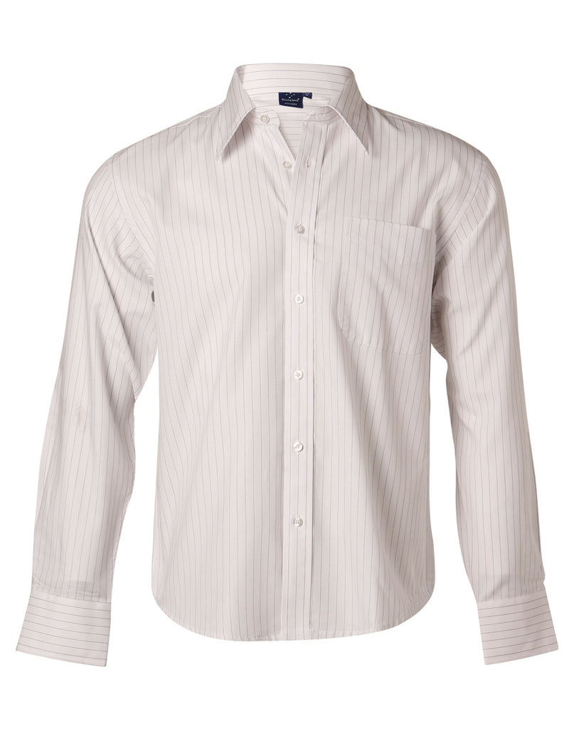 Winning Spirit Men's Herringbone Pin Stripe Long Sleeve Shirt (BS17)