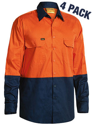 Bisley Hi Vis Cool Lightweight Ventilated Drill L/S Shirt -4 Pack -(BS68954P)