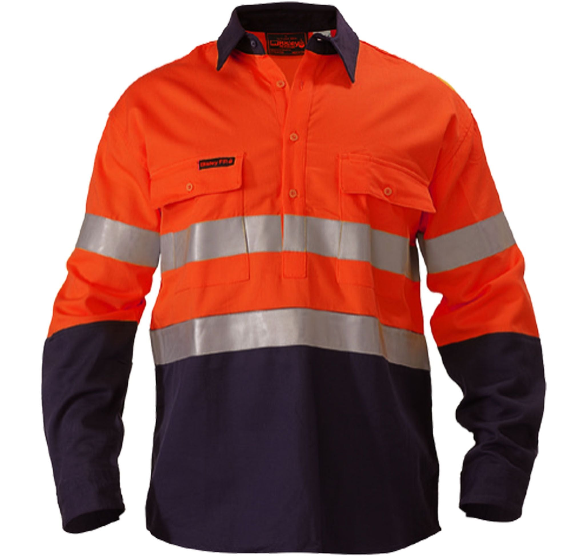 Bisley Indura® Ultra Soft® Fire Retardant 2 Tone Hi Vis Drill Shirt 3M FR Reflective Tape - Long Sleeve-(BS8002)