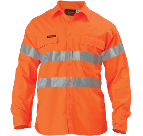 Bisley  Hi Vis Shirt - Indura Ultra Soft Flame Resistant With Tape-(BS8004)