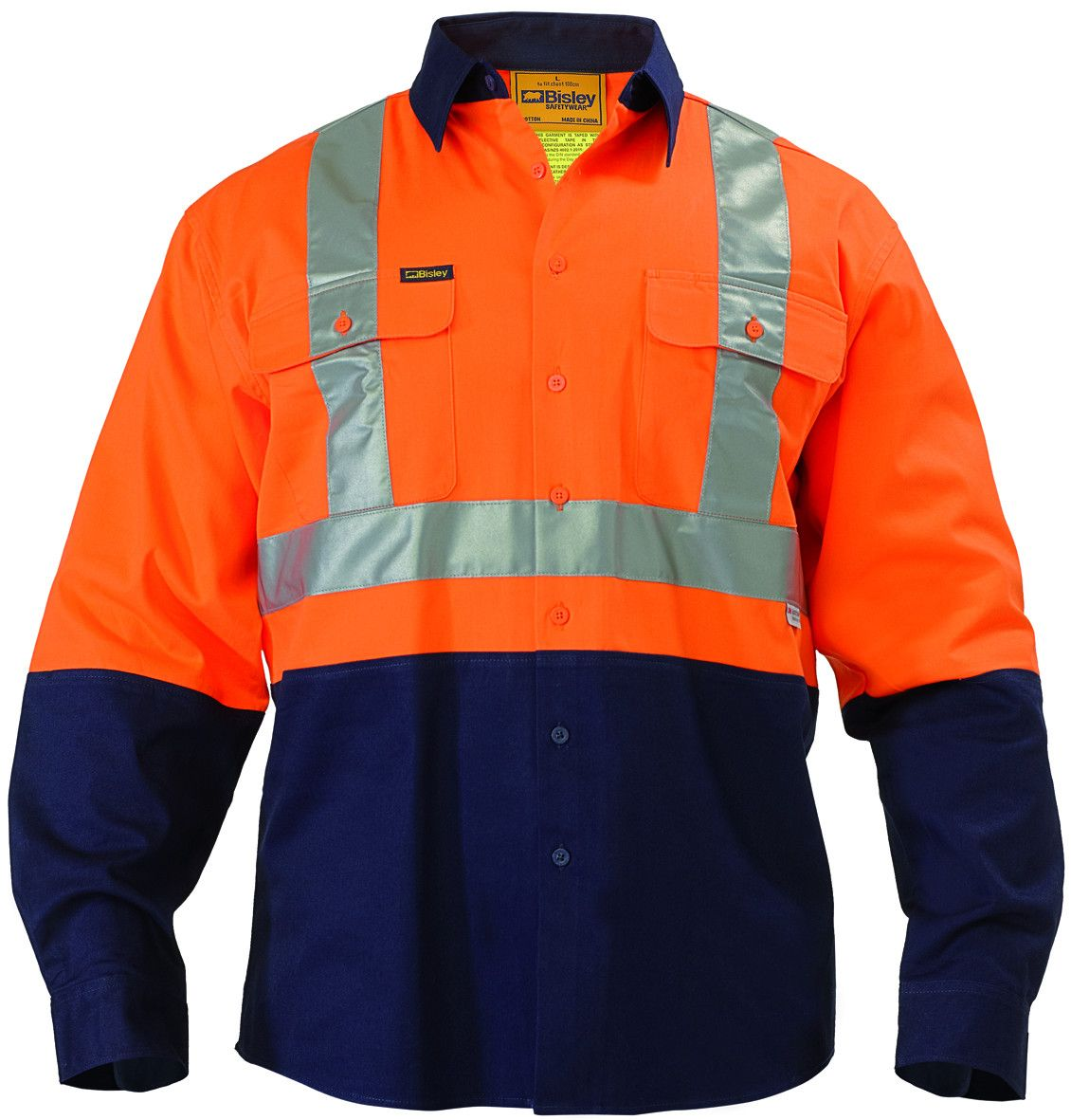 Bisley 2 Tone Hi Vis Reflective Drill Shirt - Long Sleeve-(BT6458)