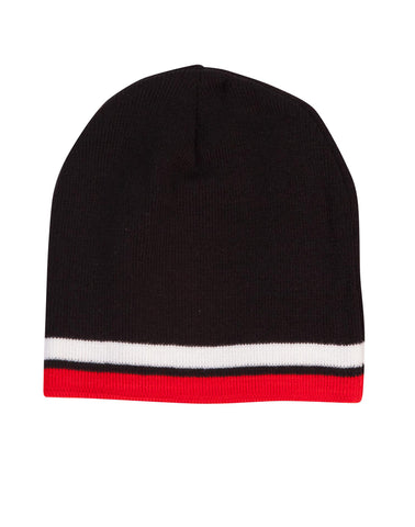 Winning Spirit Knitted Acrylic With contrast Stripe Beanie Caps (CH63)