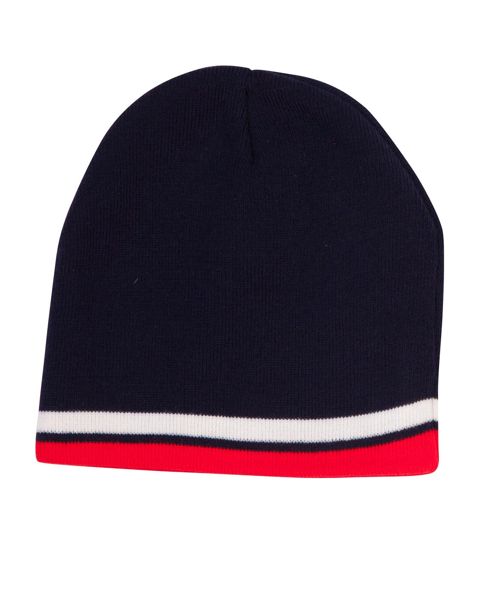ae851854f96 Winning Spirit Knitted Acrylic With contrast Stripe Beanie Caps (CH63)