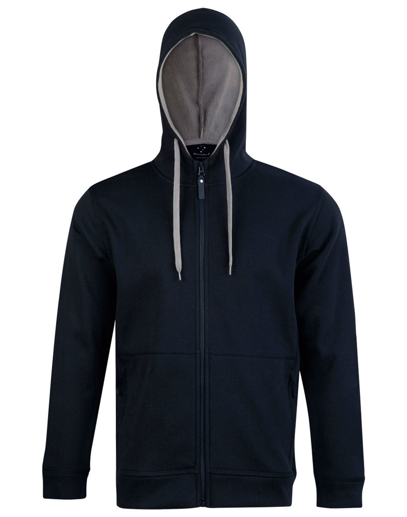 Winning Spirit Men's Passion Pursuit Full Zip Contrast Fleece Hoodie (FL17)
