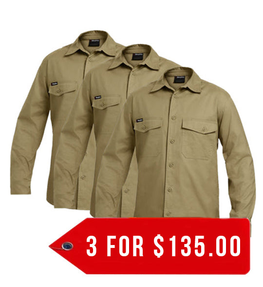 KingGee Workcool 2 Shirt L/S - Cotton Ripstop (K14820-1)-3 Pack