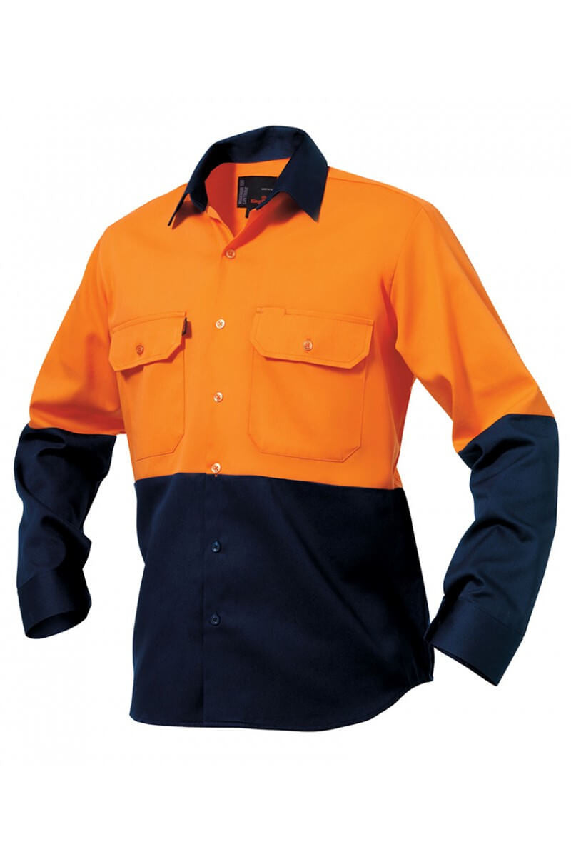 King Gee L/s Hi-vis Spliced Open Front Shirt - 100% Cotton Drill (K54015)