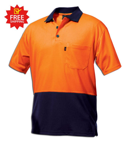 King Gee Hi Vis Spliced Colour Sun Protect Polo-(K5422H)