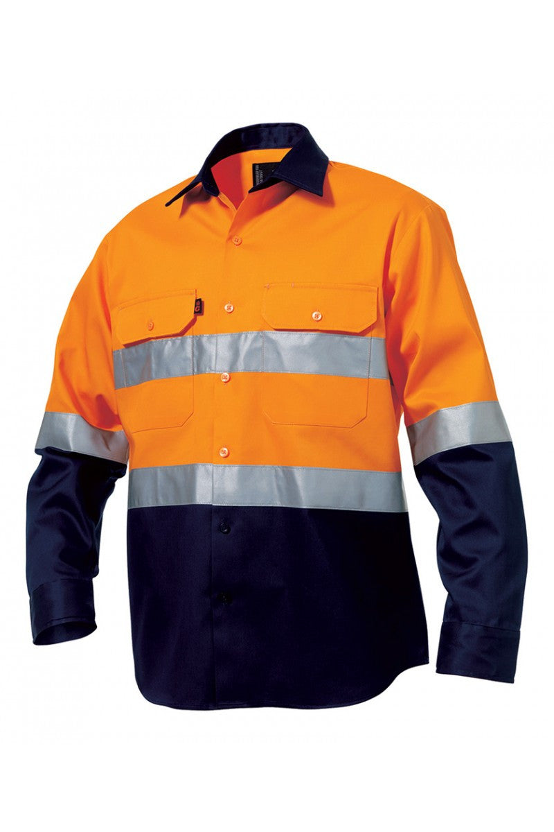 "King Gee Reflective Spliced Drill Shirt L/s ""drill"" - Cotton Drill (K5431G)"