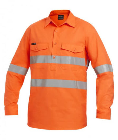 KingGee Workcool 2 Hi-Vis Reflective Closed Front Shirt Long Sleeve (K54896)