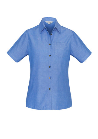 Biz Collection Ladies Wrinkle Free Chambray Short Sleeve Shirt (LB6200)