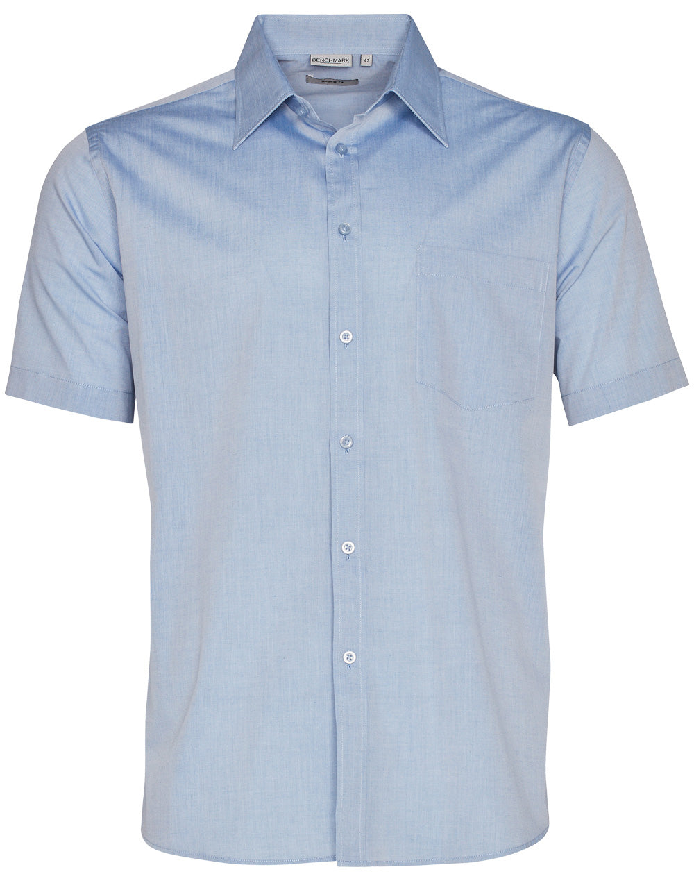 Winning Spirit Men's Fine Chambray Short Sleeve Shirt (M7011)