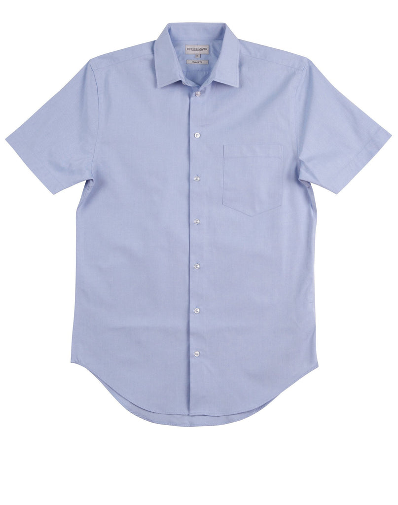 Winning Spirit-Winning Spirit Men's CVC Oxford Short Sleeve Shirt-Blue / 38-Uniform Wholesalers - 2