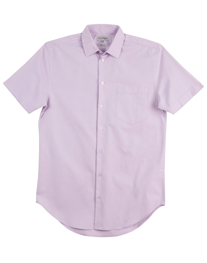 Winning Spirit-Winning Spirit Men's CVC Oxford Short Sleeve Shirt-Lilac / 38-Uniform Wholesalers - 3