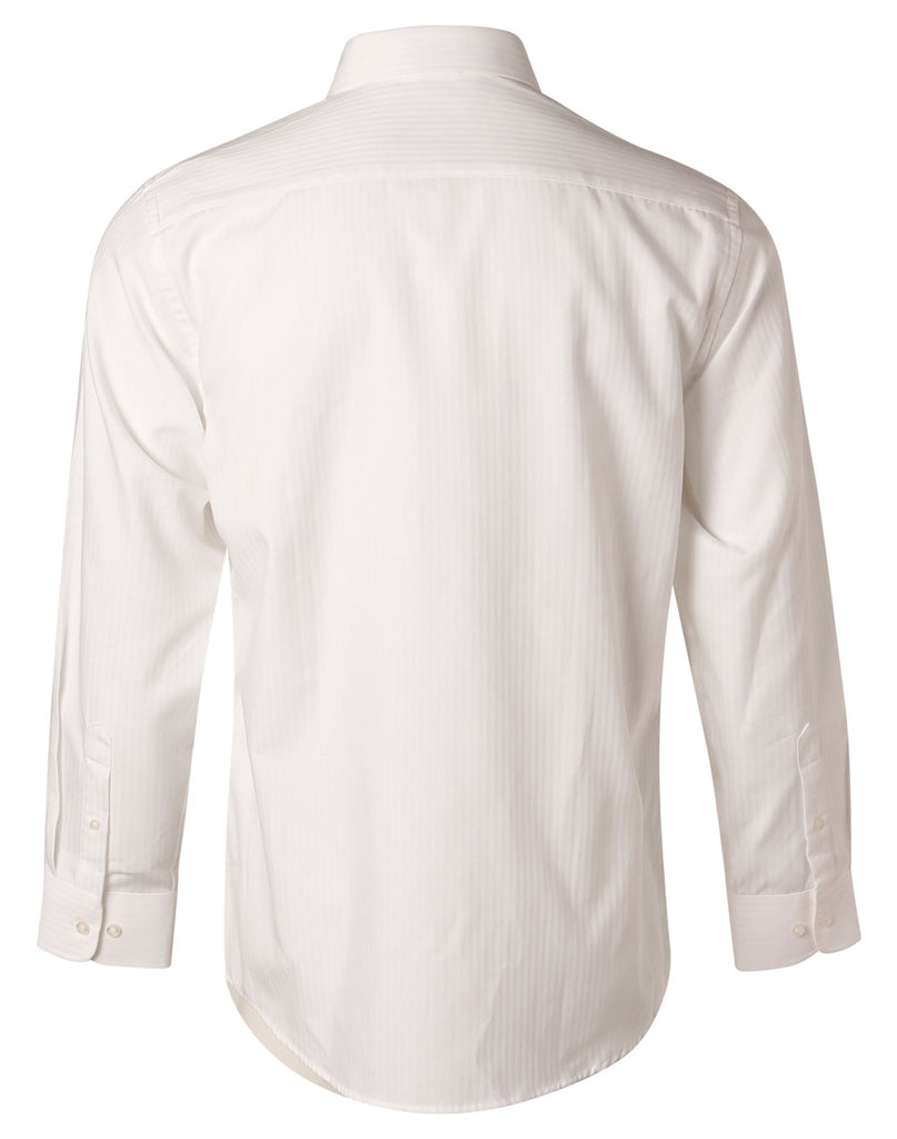 Winning Spirit Men's Mini Herringbone Long Sleeve Shirt (M7112)
