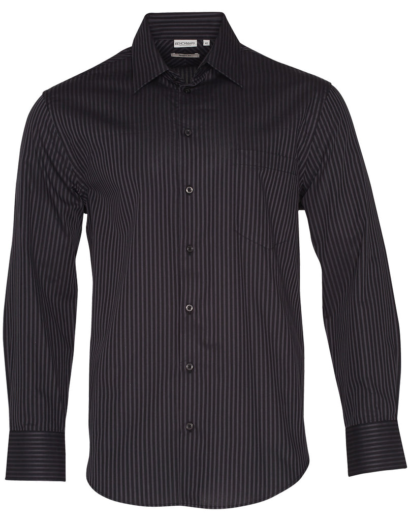 Winning Spirit Men's Dobby Stripe Long Sleeve Shirt (M7132)