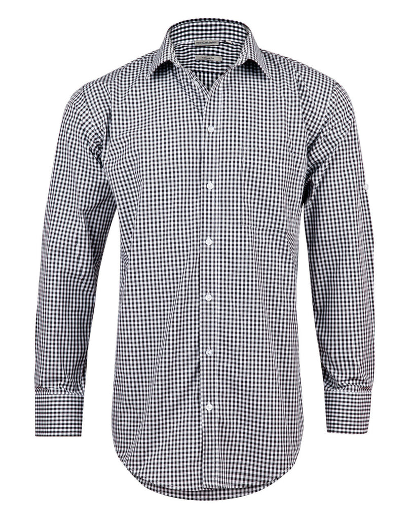 Winning Spirit Men's Gingham Check Long Sleeve Shirt with Roll-up Tab Sleeve (M7300L)