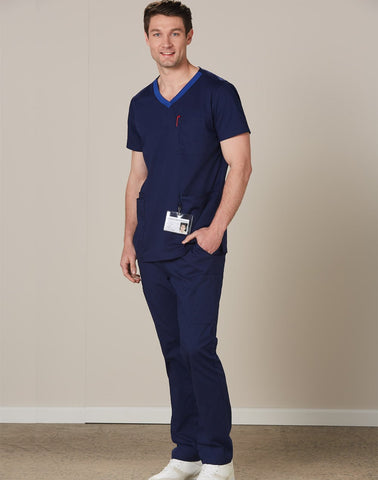 Wining Spirit  Mens V-neck Contrast Trim Scrub Top (M7650 )