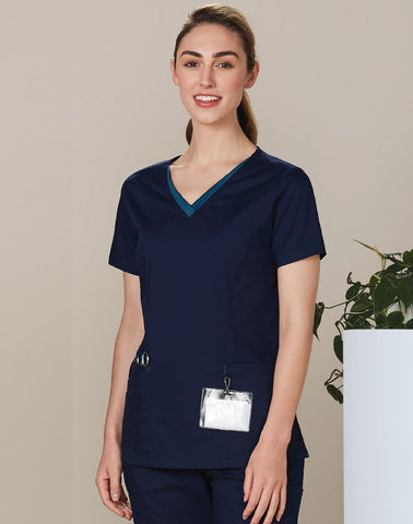 Wining Spirit Ladies V-neck Contrast Trim Scrub Top (M7660)