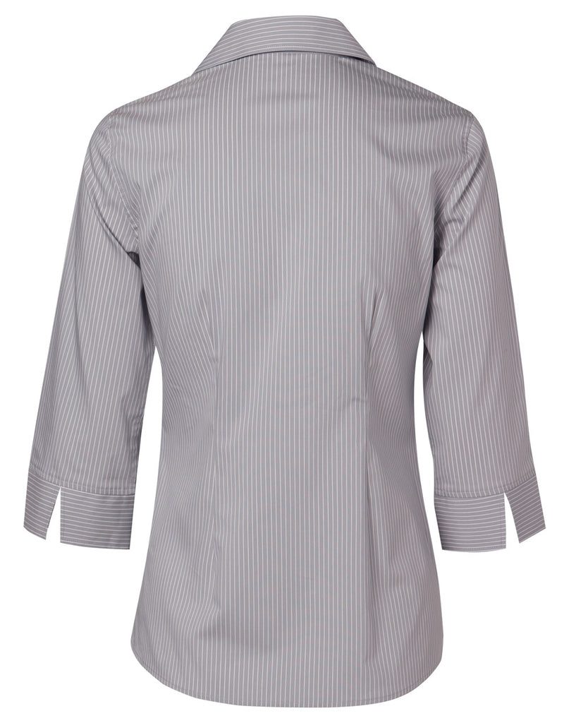 Winning Spirit Women's Ticking Stripe 3/4 Sleeve Shirt (M8200Q)