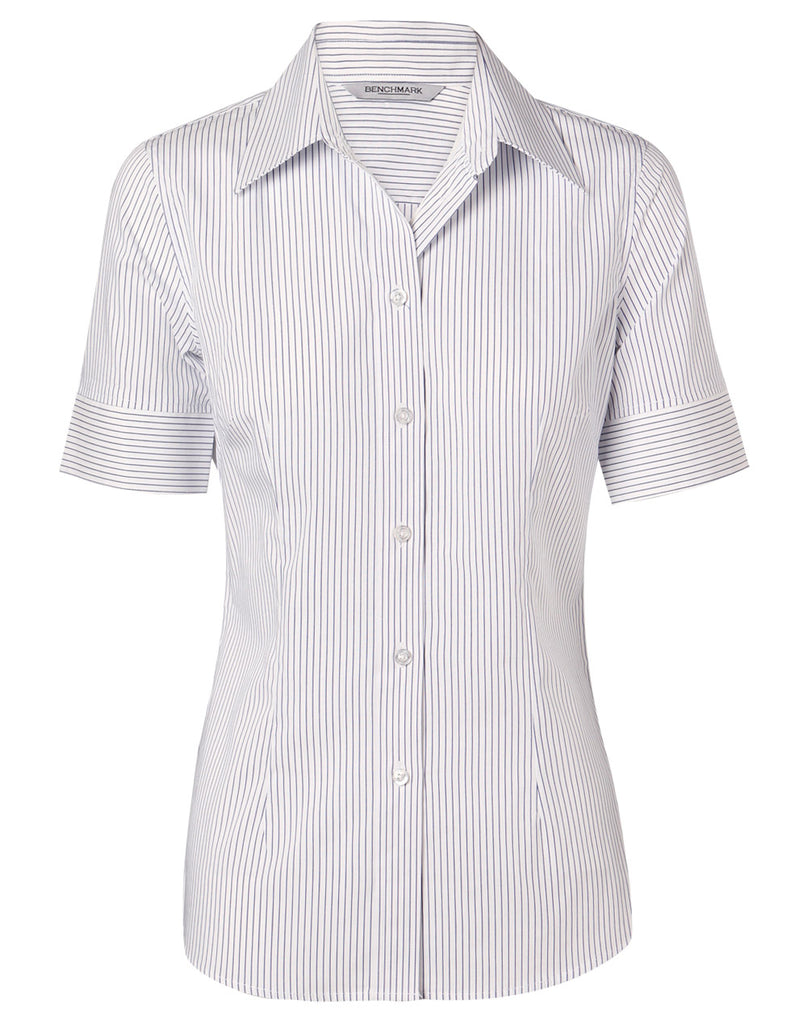 Winning Spirit Women's Ticking Stripe Short Sleeve Shirt (M8200S)