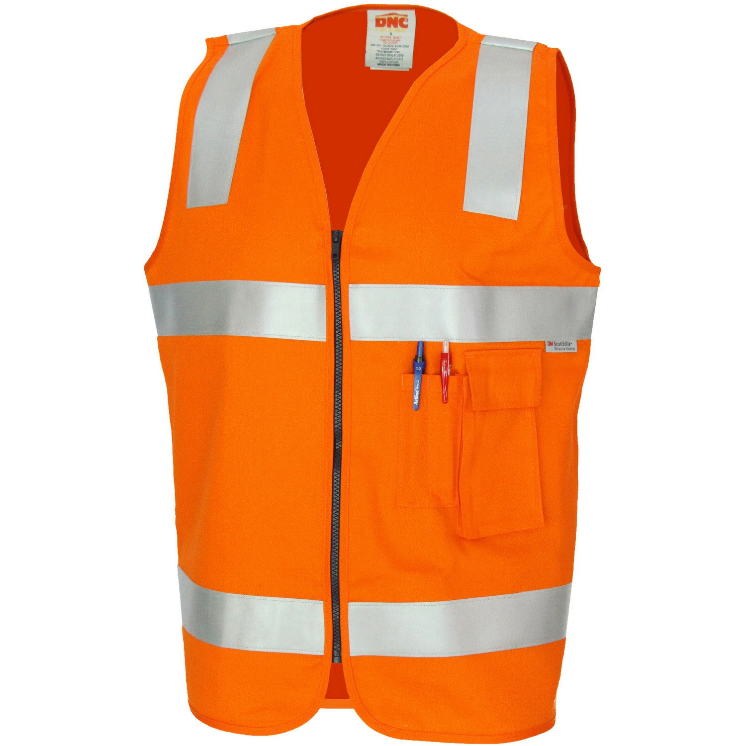 Orange Work Reflective Jacket Safety Mesh Vest With 3m Tape Fancy Colours Safety Clothing Workplace Safety Supplies