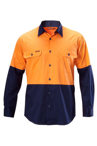 Hard Yakka Koolgear Hi-visibility Two Tone Cotton Twill Ventilated Shirt Long Sleeve (Y07558)