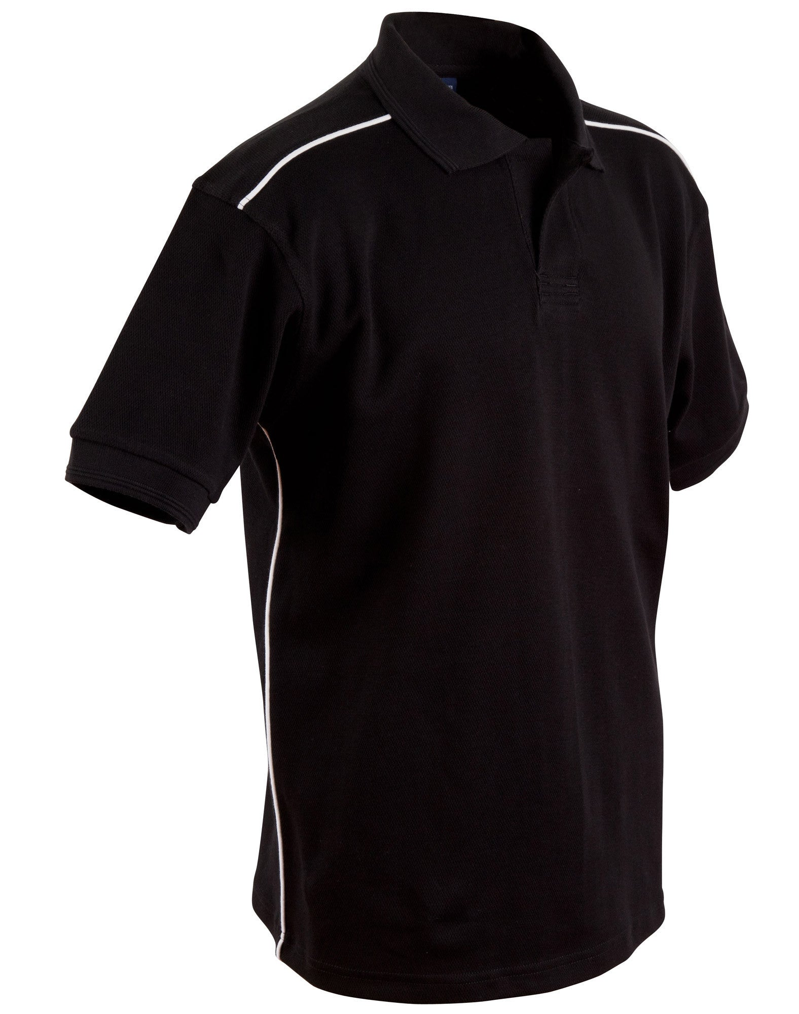 Winning Spirit Men's Pure Cotton Contrast Piping Short Sleeve Polo (PS25)