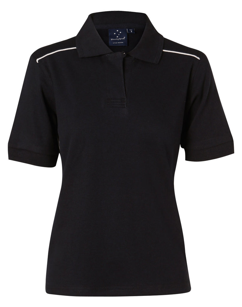 Winning Spirit Ladies' Pure Cotton Contrast Piping Short Sleeve Polo (PS26)