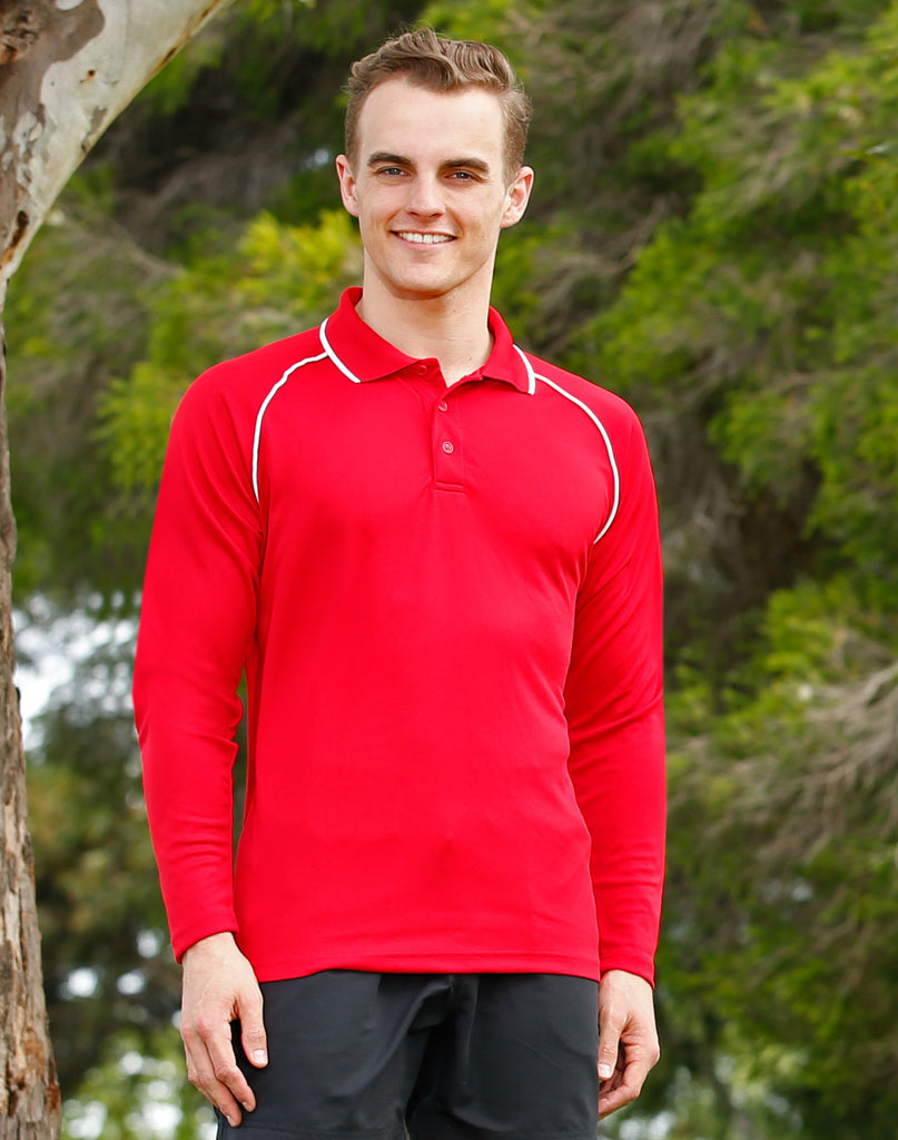 Winning Spirit Men's CoolDry® Raglan Long Sleeve Contrast Polo (PS43)