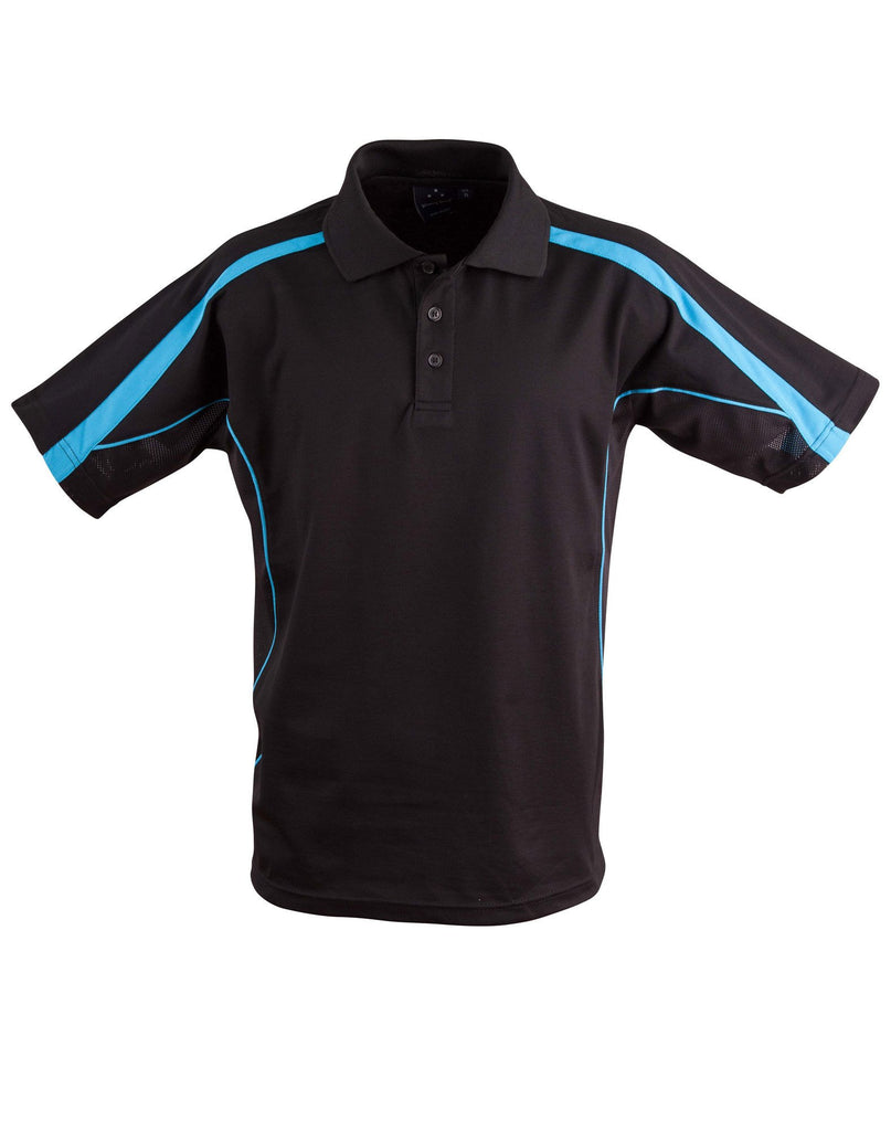 Winning Spirit-Winning Spirit Legend Kids Poly-cotton Blended Polo 2nd(2 Colour)-Black/Aqua Blue / 04K-Uniform Wholesalers - 2