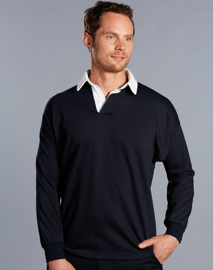 Winning Spirit Men's Grange Long Sleeve Rugby Top (RB03)