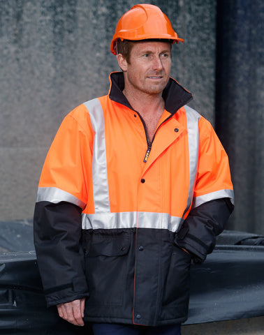 Winning Spirit Hi-Vis Two Tone Rain Proof Jacket With Quilt Lining (SW28A)
