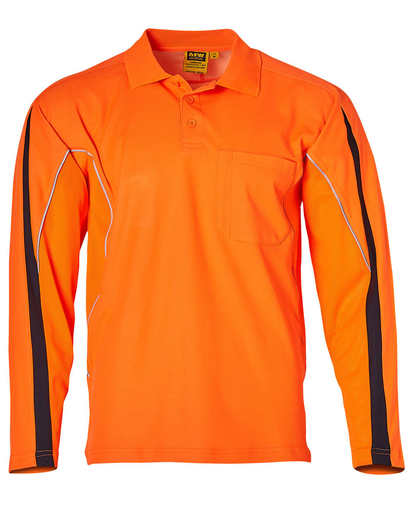 Winning Spirit Mens' Hi-Vis Legend Long Sleeve Polo With Reflective Piping (SW33A)