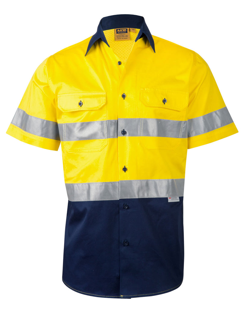 Winning Spirit Men's High Visibility Cool-Breeze Cotton Twill Safety Shirts With Reflective 3M Tapes (SW59)